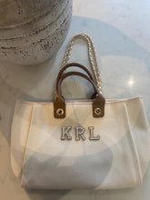 Load image into Gallery viewer, LE MIEN LUXE ALBA CANVAS TOTE - RHINESTONE & PEARL