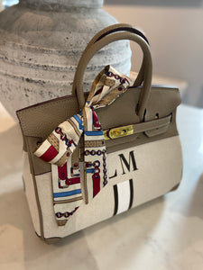 LE MIEN 'ATHENA' CANVAS & ELEPHANT LEATHER HANDBAG - STRIPES
