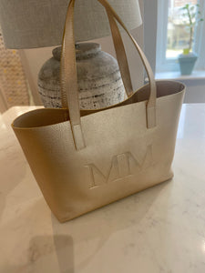 LE.MIEN LUXURY LEATHER STAMPED TOTE BAG