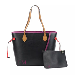 "LE MIEN ""ALEXA""  BLACK PERSONALISED LEATHER TOTE - PLUM"