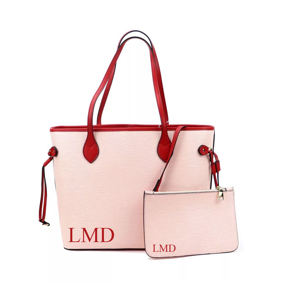 "LE MIEN ""ALEXA""  PINK PERSONALISED LEATHER TOTE - RED"
