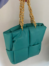 Load image into Gallery viewer, PADDED LEATHER TOTE WITH CHAIN