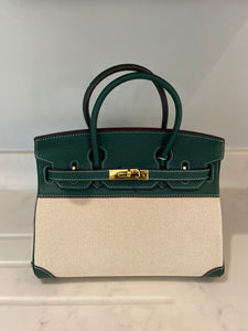 LE MIEN 'ATHENA' GREEN LEATHER & CANVAS HANDBAG