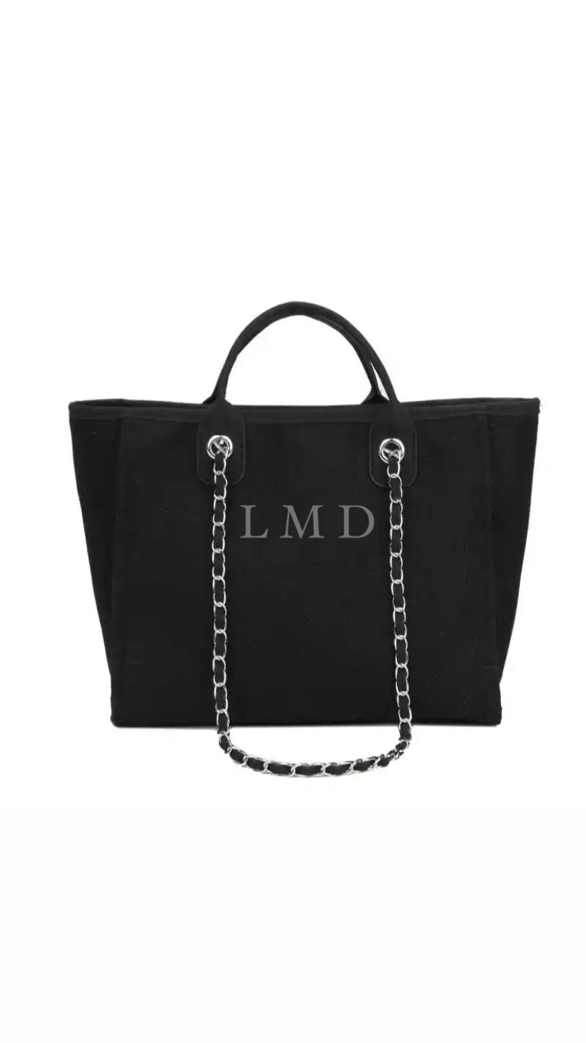 LE MIEN ALBA BLACK CANVAS TOTE BAG - LIGHT GREY INITIALS