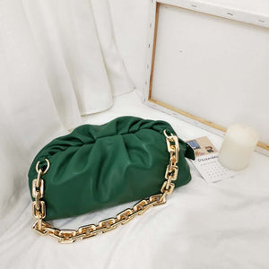 LE MIEN REAL LEATHER 28 CM POUCH BAG WITH CHAIN