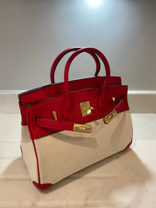 LE MIEN 'ATHENA' RED LEATHER & CANVAS HANDBAG