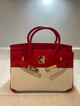 Load image into Gallery viewer, LE MIEN 'ATHENA' RED LEATHER & CANVAS HANDBAG