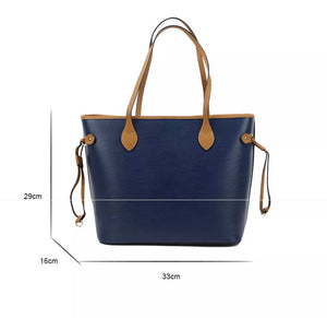 "LE MIEN ""ALEXA""  NAVY PERSONALISED LEATHER TOTE - SOFT PINK"