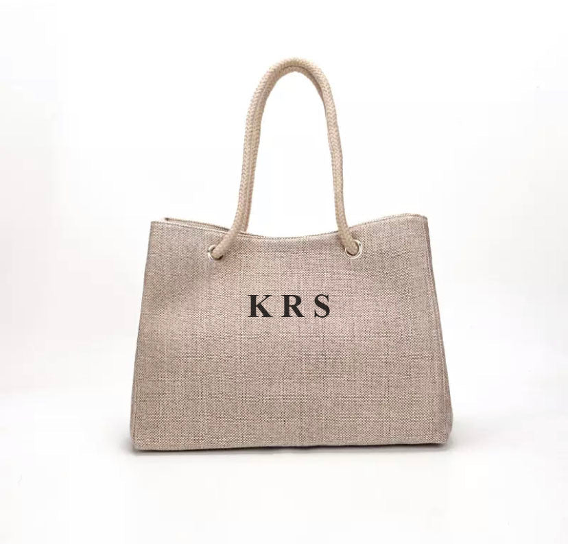"LE MIEN ""EVERYDAY LINEN"" BAG - SOFT BEIGE TAUPE  LETTERS"