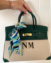 Load image into Gallery viewer, LE MIEN 'ATHENA' GREEN LEATHER & CANVAS HANDBAG
