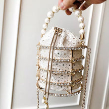 Load image into Gallery viewer, PEARL & RHINESTONE CAGE BAG