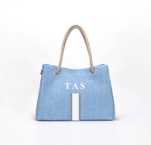 "LE MIEN ""EVERYDAY LINEN"" BAG - BLUE WHITE  LETTERS"