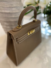 Load image into Gallery viewer, LE MIEN 'ARABELLA' DARK TAUPE ESPSON STYLE  LEATHER CROSSBODY BAG - INITIALS