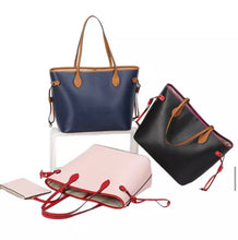 "Load image into Gallery viewer, LE MIEN ""ALEXA""  NAVY PERSONALISED LEATHER TOTE - SOFT PINK"