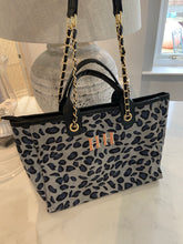 Load image into Gallery viewer, LE MIEN ALBA BLUE LEOPARD TOTE