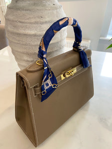 LE MIEN 'ARABELLA' DARK TAUPE ESPSON STYLE  LEATHER CROSSBODY BAG - INITIALS