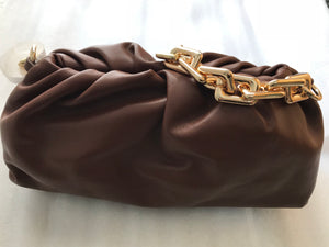 LE MIEN REAL LEATHER 32CM POUCH BAG WITH CHAIN