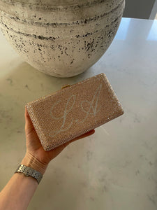 LE MIEN CRYSTAL CLUTCH CHAMPAGNE GOLD WITH SILVER WRITING