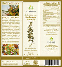 Load image into Gallery viewer, Hemp seeds gold oil 250ml - available now!