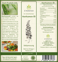 Load image into Gallery viewer, Hemp seed oil 250 ml