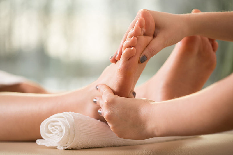 Close up of foot Massage and what is reflexology