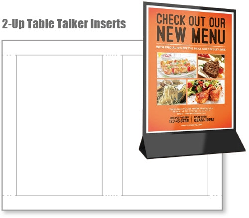 "2- Up 4.25"" x .7"" Matte/Matte Table Tents 10pt. 8.5' 'x 11'' 500 Sheets"