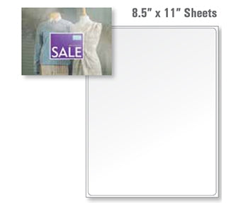 "8.5"" x 11"" Full Sheet Gloss 7 Mil Removable 250 Sheets"