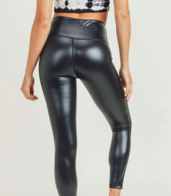Glossy Faux Leather Leggings