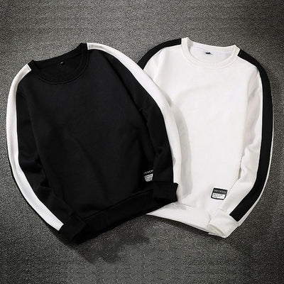 O-Neck Long Sleeves Black White Sweatshirts