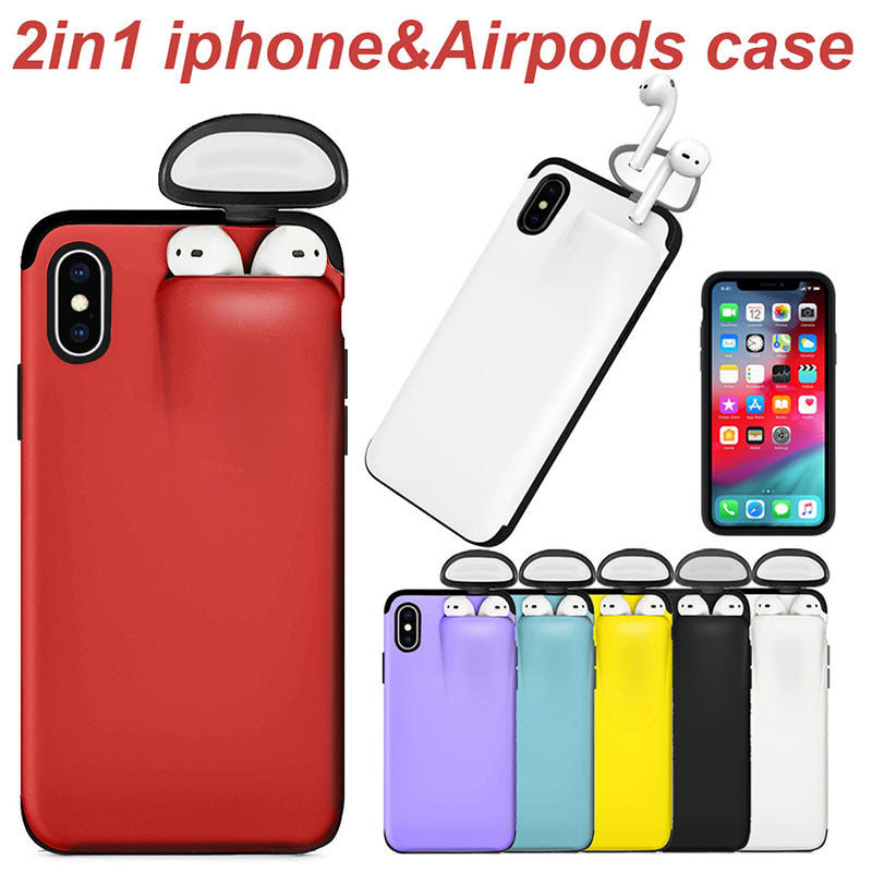 2 in 1 iPhone & AirPods Holder Hard Case
