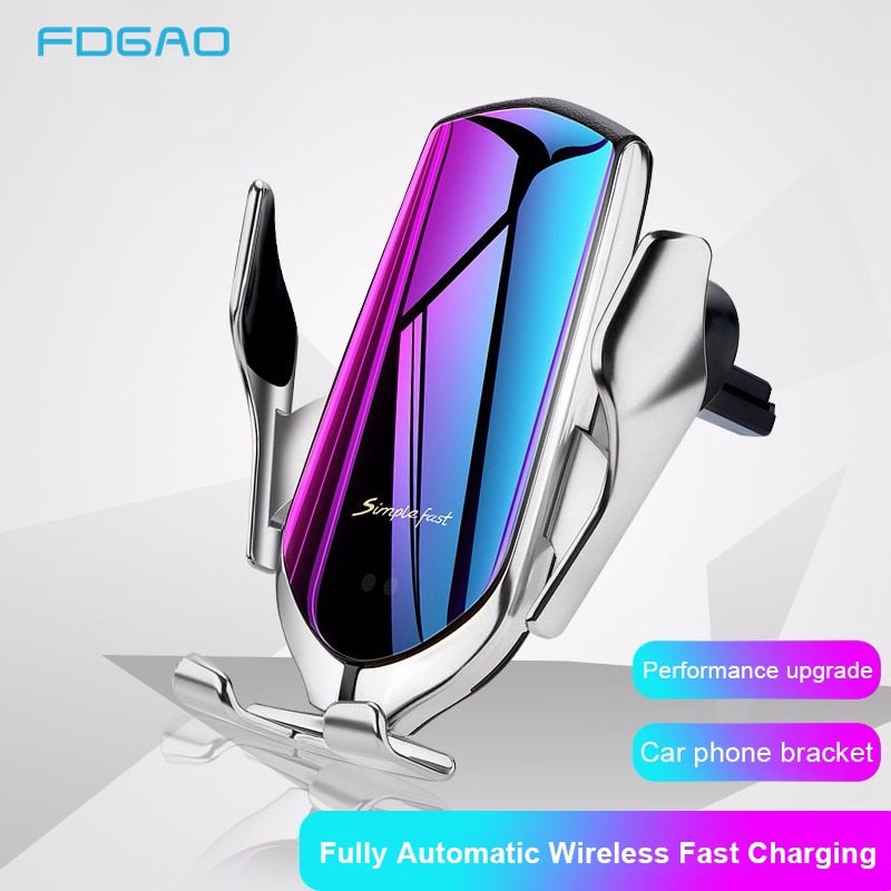 Qi Automatic Wireless Car Charger For Samsung & iPhone With Infrared Sensor Phone Holder