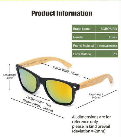 BOBO BIRD Square Wood Vintage Polarized Sunglasses