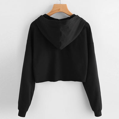 Round Neck Casual Crop Jumper Sweatshirt