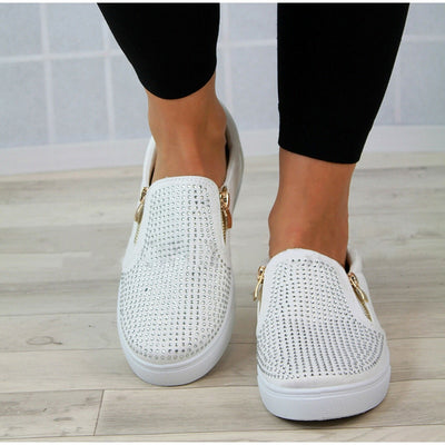 Zipper Snake pattern flat Women shoes