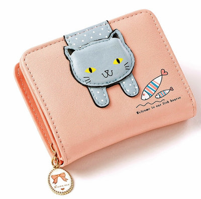 Women Cute Cat Small Zipper Leather  Wallet