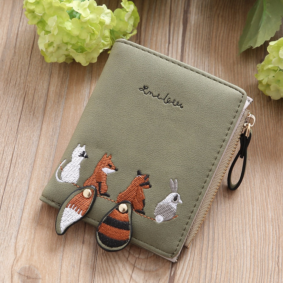 Lovely Animals Short Leather Wallet
