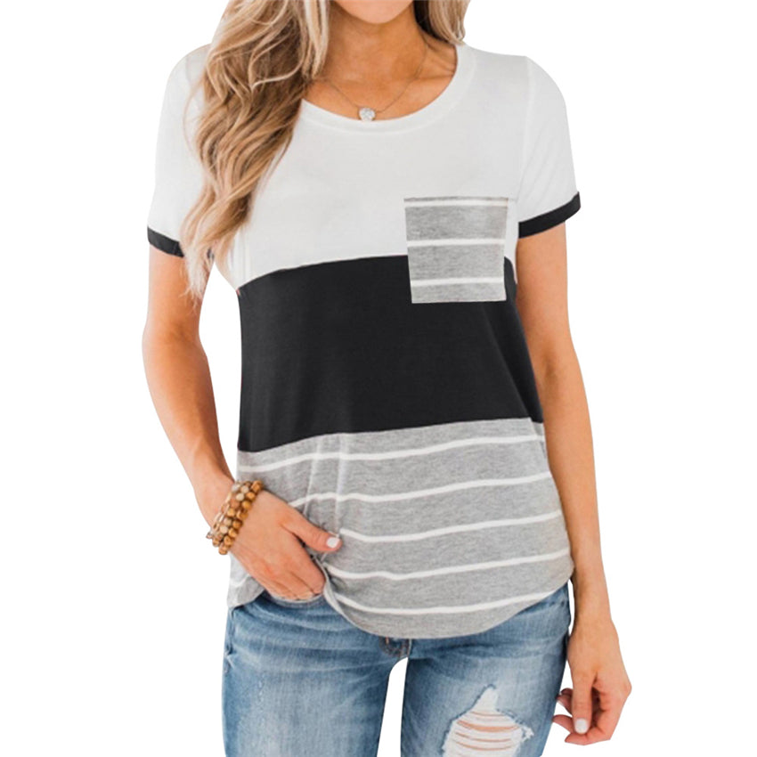 Striped Summer Top Short Sleeve T-shirt Women