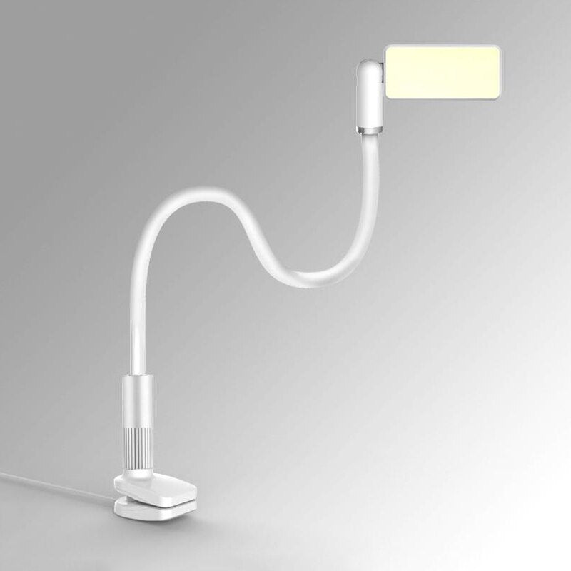 2 in 1 Long Arm Gooseneck Desk Cell Phone Holder With LED Bed Reading Lamp
