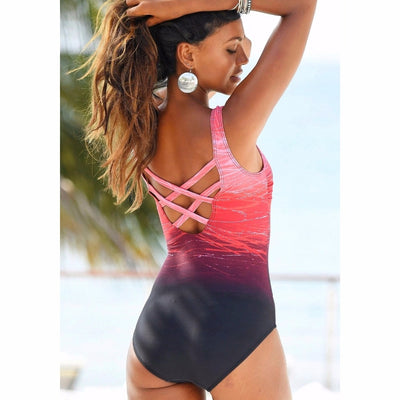 Gradient Color Cross Back Swimsuit