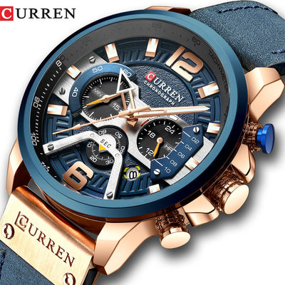 CURREN Chronograph Casual Sport Watches Military Leather for Men