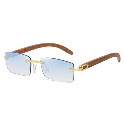 Rimless Rectangle Sunglasses Vintage Shades