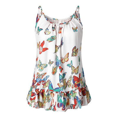 Women Loose sleeveless Blouse Butterfly Print