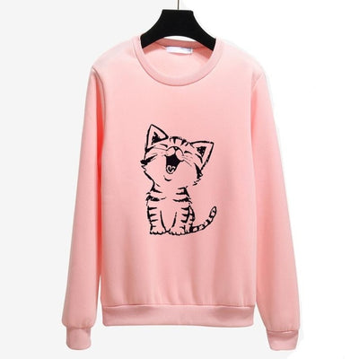 Cute Happy Cat Harajuku Hoodie For  Women