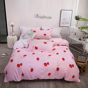 INS Yellow Bananas Stripes Bedding Sets Microfiber Brush Polyester Bedlinens Twin Full Queen King Duvet Cover Set Pillowcases