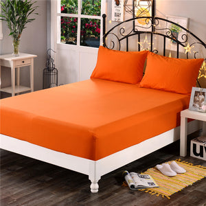 1pcs 100%Polyester Solid Fitted Sheet Mattress Cover Four Corners With  Elastic Band Bed Sheet44