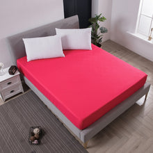 Load image into Gallery viewer, Solid Fitted Sheet Mattress Cover with all-around Elastic Rubber Band Bed Sheet