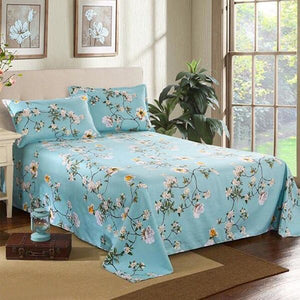 Bed Sheet+2Pcs Pillow Cases 2019 Decor Home  Textile Bedding Coverlet Flat Sheet Flower Bed Cover Bed Sheet Soft Warm Bed sheets