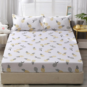 3pcs Fitted Sheet with Pillowcase Set Black Leaf Printed Single Queen Size Mattress Protector Cover Bottom Sheet for King Bed