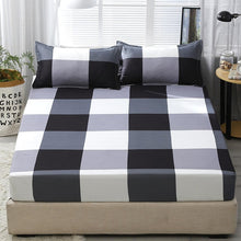Load image into Gallery viewer, 3pcs Fitted Sheet with Pillowcase Set Black Leaf Printed Single Queen Size Mattress Protector Cover Bottom Sheet for King Bed