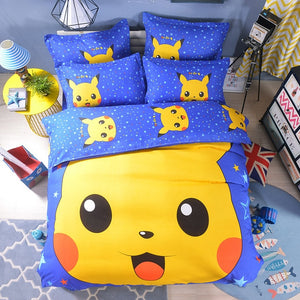 Home Textile 3D Cute Cartoon Pokemon Pikachu Printing Bedding Set  Duvet Cover Set Bed Sheet Bed Linen Bedclothes